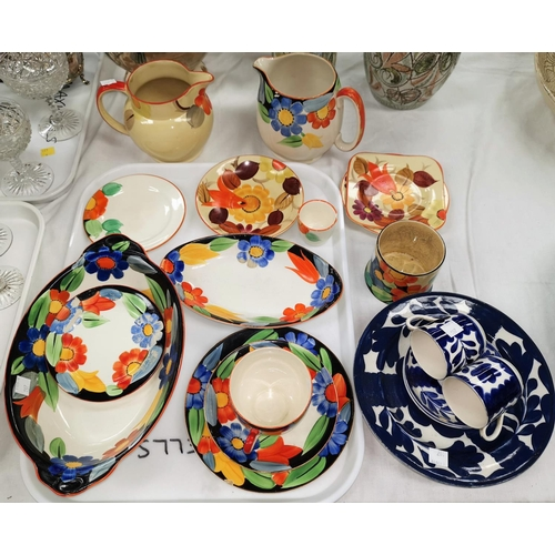 197 - Susie Cooper for Gray's Pottery:  9 pieces of