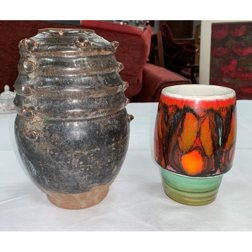 175A - A Poole orange glazed vase, a Briglin vase and a Studio pottery vase etc...