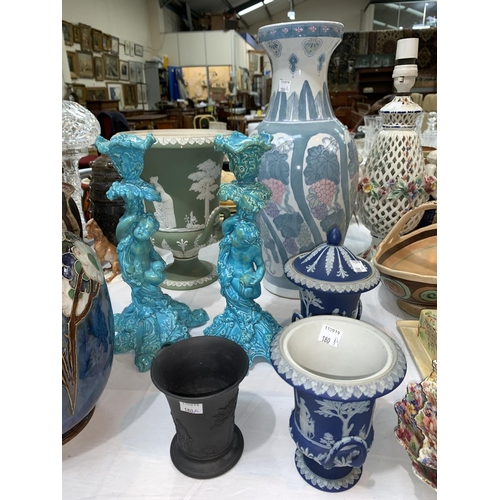 180A - A pair of 19th Century blue glazed Wedgewood candlesticks, a Wedgewood black basalt cup, other Wedge...