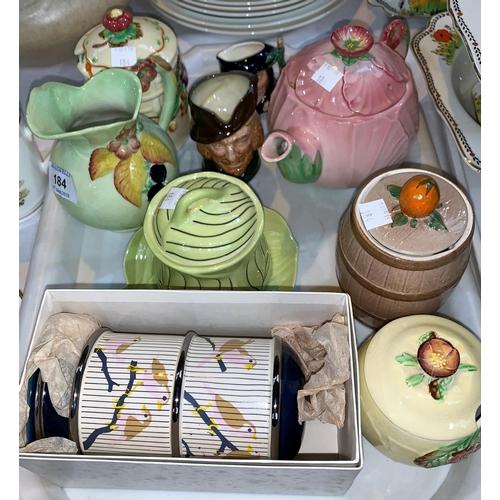 184 - A Carlton Ware double egg holder, boxed, a Carlton Ware teapot, 2 Royal Doulton character jugs and o...