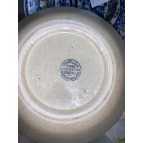 192 - A Chameleon ware Art Deco pottery vase, 25 cm; 2 sets of Royal Windsor nursery china; a David Leach ...