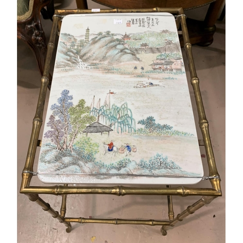 258c - A Chinese Republic occasional table with bamboo effect brass frame and rectangular ceramic top depic...