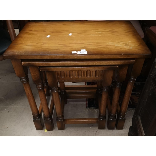 546 - An oak nest of 3 Jacobean style occasional tables...