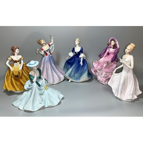 1 - A Royal Doulton figure 'June' HN 2991; 4 Coalport Ladies of fasion - Hayley, Birthday Girl, Colleen,...