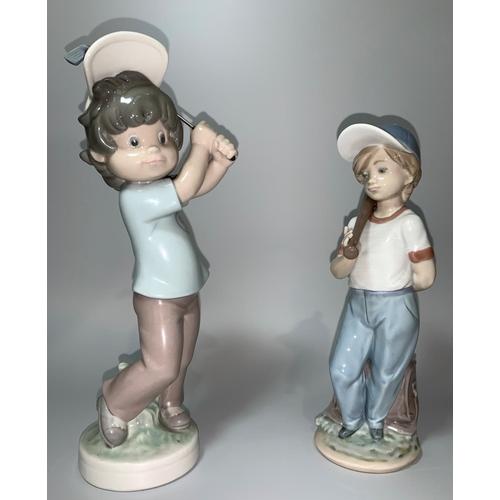 3 - A Lladro figure of a boy with baseball bat; a Lladro figure of a boy swinging a golf club...
