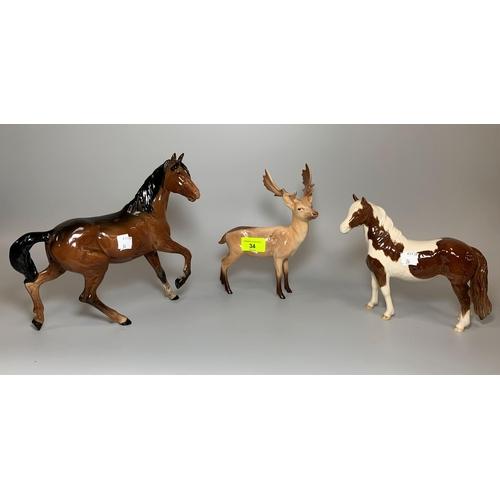 34 - 3 Beswick animals: Bay horse length 9