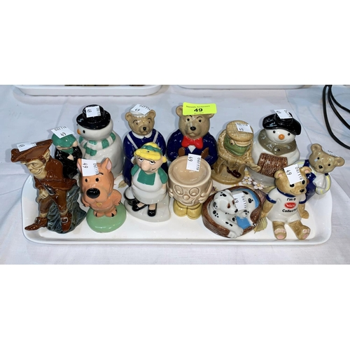 49 - 12 Wade Collector's figures including 2 snowmen, Andy Cap, Daddy & Mummy bear etc....