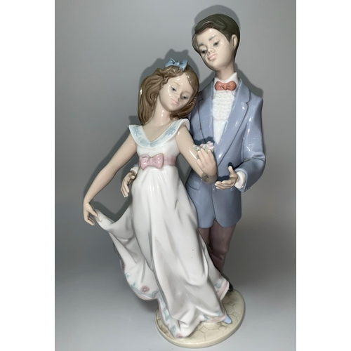 5 - A Lladro group - boy and girl in evening dress, dancing, 10th Anniversary, impressed '7642'...
