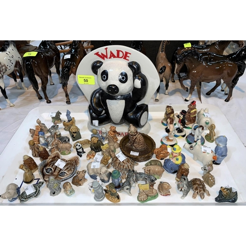 50 - A Wade Collectables free standing ceramic sign & a large selection of Wade Whimsies boxed and unboxe...