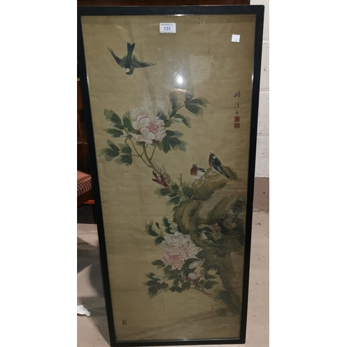 133 - A 19th century Chinese large watercolour on  silk depicting finches on a peony type flowering plant,...