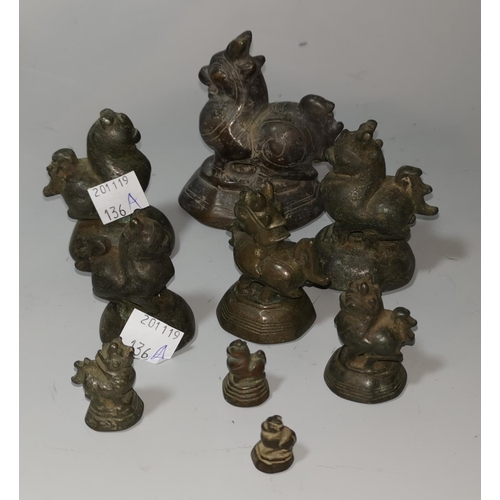 136a - A Burmese set of 9 graduating bronze opium weights in the form of mythical birds, largest 8 cm...