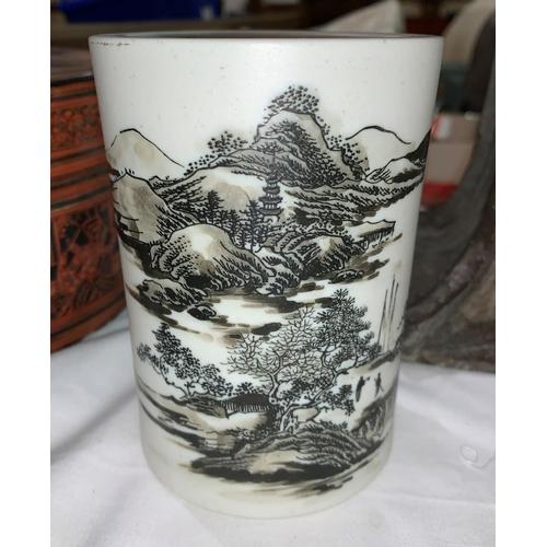 127a - A Chinese white bisque porcelain brush pot, bitong, enamelled landscape decoration, 12 cm...