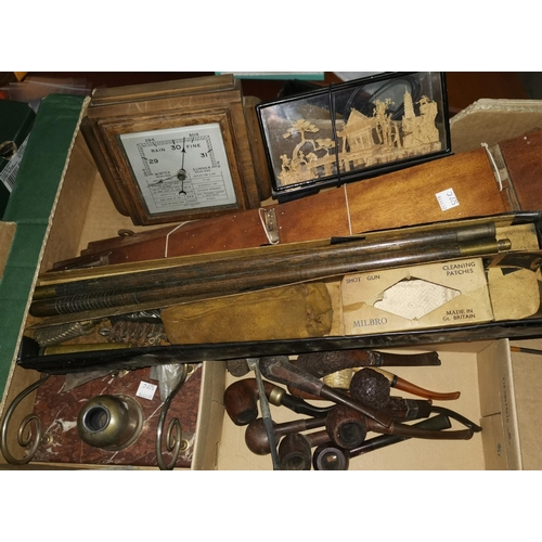527c - A marble inkwell with metal mounts; a shotgun cleaning kit; pipes and collectables...