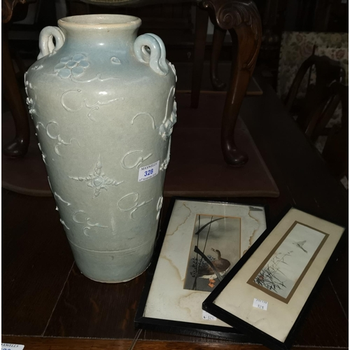 328 - An oriental china vase with relief decoration of a dragon; 2 small watercolour paintings of water bi...