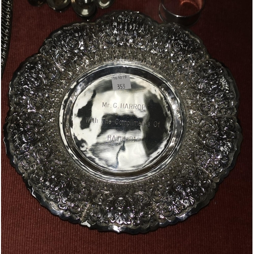 353 - A Victorian silver plated claret jug; a sugar scuttle; a gallery tray; 6 hallmarked silver teaspoons...