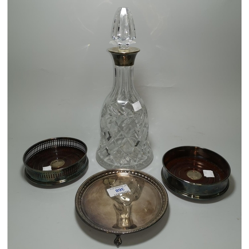 368 - Two modern silver mounted wine coasters; a similar cut glass decanter; a small silver salver...