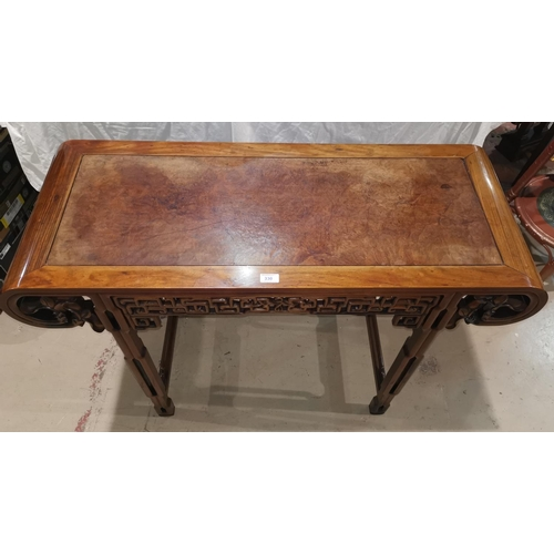330 - A late 19th/early 20th century Chinese hardwood altar table, with rounded ends and pierced frieze on...
