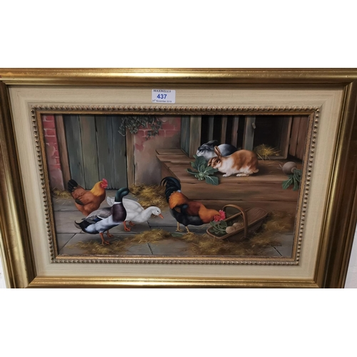 437 - Carl Whitfield:  Farmyard scene with rabbits, ducks and poultry, oil on board, signed, 22 cm x 44 cm...