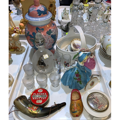 18 - A Gladstone Art Deco 21 piece china teaset; a Coalport figurine & decorative china, an Art Deco glas...