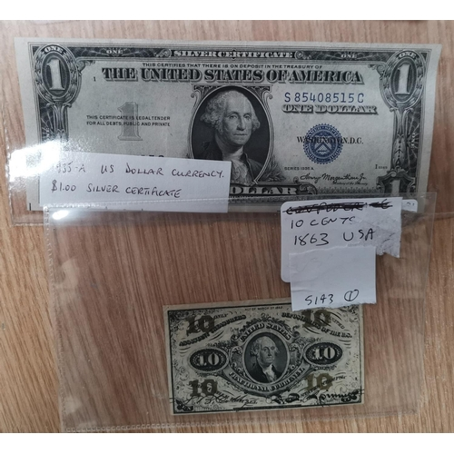 231 - U.S.A. 10 cents, banknote 1863, 2935 1 dollar, silver certificate...