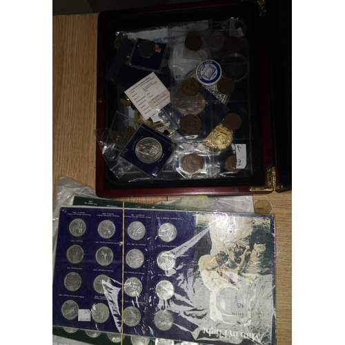 235 - Box of coins 1960, 5/- polished Die, Diana Medallion large (gold plated), QEII Large Medallion, (gol...