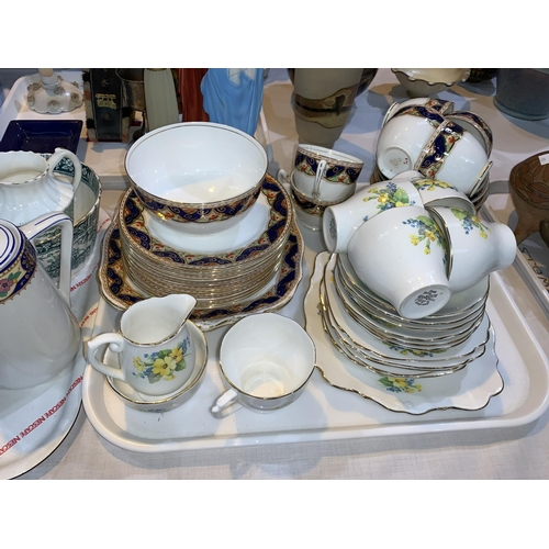 13 - A Victorian part tea set, green transfer printed; other part tea sets...