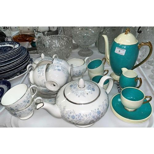 6 - A Shelley Art Deco part tea service, 4 setting, 10 pieces; a Wedgwood Belle Fleur part tea service, ...