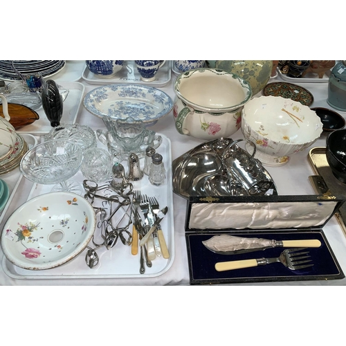 8 - A selection of decorative pottery and glassware, fish servers; other silver plate; stainless steel s...