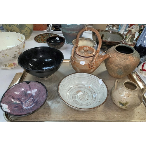 9 - A collection of 6 pieces of oriental studio pottery...
