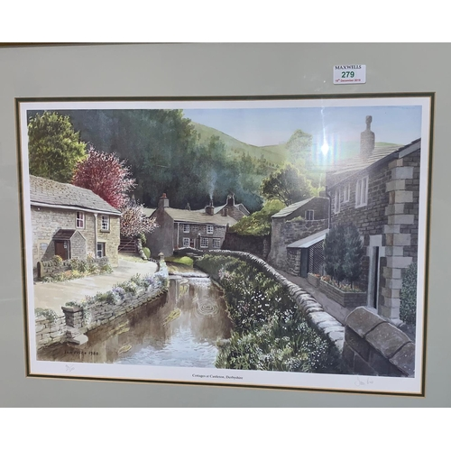 279 - Ian Price:  Derbyshire Canal, signed limited edition print; other pictures and prints; QEII Silver W...