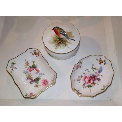 26 - A Royal Crown Derby trinket pot hand painted with a finch; 2 similar pin dishes...