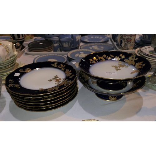 31 - An Edwardian 9 piece part dessert service with blue and gilt borders comprising 2 low comports and 7...
