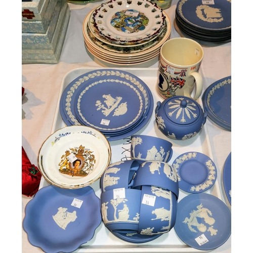 34 - A Wedgwood Royal Silver Jubilee commemorative mug; a selection of Jasperware and other china...