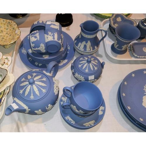 37 - A Wedgwood blue Jasperware 22 piece tea set...