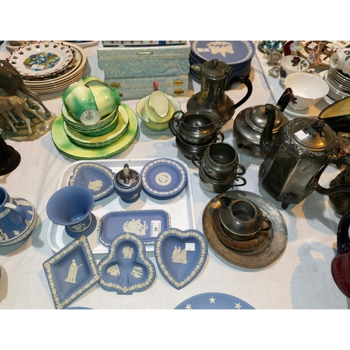 39 - Eleven pieces of Wedgwood Jasperware; a New Chelsea part tea service; various items of pewter...