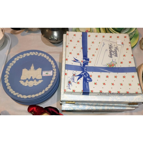 40 - Ten Wedgwood Christmas plates 1971-1980; 6 others by Royal Doulton; etc....