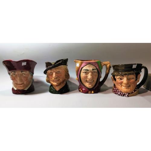 42b - Four Royal Doulton character jugs:  Touchstone; The Cardinal; Robin Hood & Sam Weller...