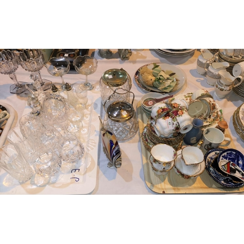 43 - A Royal Albert Old Country Roses tea set; a quantity of glassware...