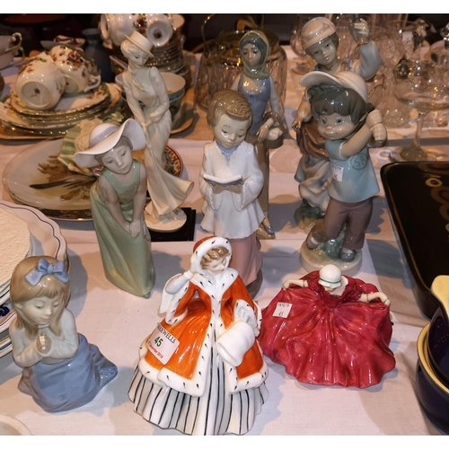 45 - A Royal Doulton figure:  Noelle, HN 2179; a Lladro figure of a girl; other figures (some a.f.)...