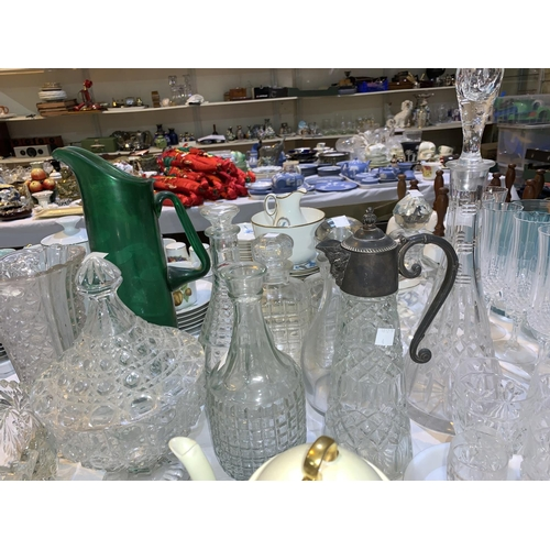 4 - A cut glass conical decanter; other decanters; etc....