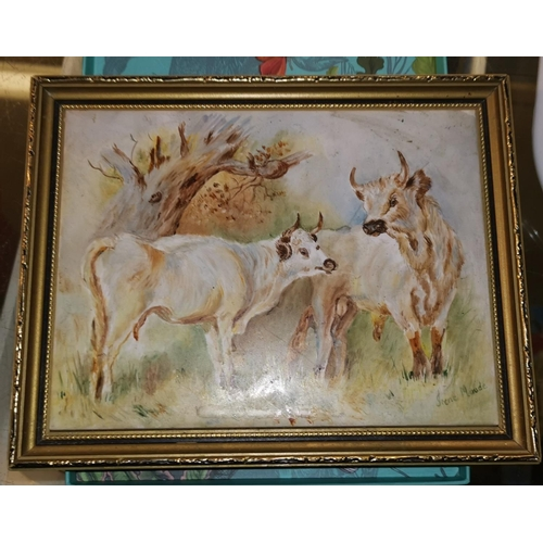 26a - Irene Maude:  painting of cattle on ceramic tile, framed...