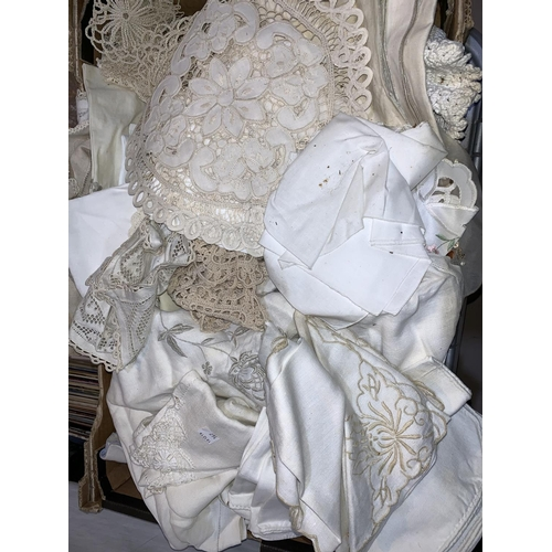 167 - A selection of decorative linen...