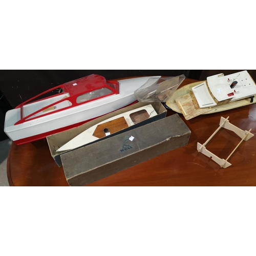222 - A mid 20th century model motor launch with electric motor; a Kellner launch with clockwork motor, bo...
