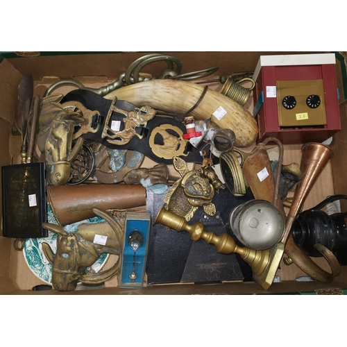 236 - A silver napkin ring; a small scent bottle; a 9 carat gold signet ring a quantity of brassware; etc....