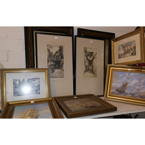 282 - A pair of early 20th century etchings by F Robson; Welsh castles, pair of limited edition prints; ot...