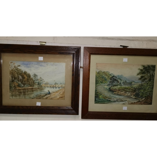 290 - W Chaffer 19th century watercolour, fishermen by a river, signed, 17 x 25 cm, framed; another by the...