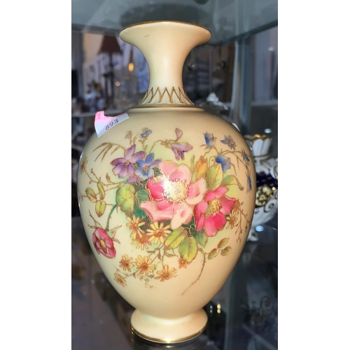 221 - A Royal Worcester baluster vase, peach blush with polychrome flowers, height 18 cm; a 19th century c...