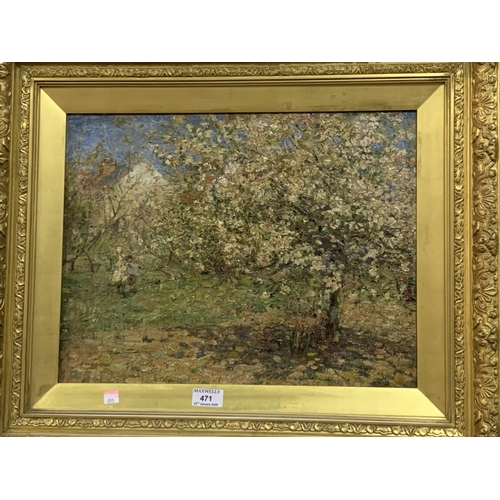 471 - Frederick William Jackson (1859-1918):  oil on board, children in a cottage orchard, signed, 44x 34 ...