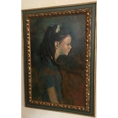 470 - Harold Francis Riley (b. 1934):  oil on board, half length portrait of a young girl with dark hair, ...