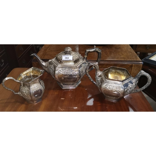 362 - A Victorian silver 3 piece tea service of compressed hexagonal form, with applied and repousse decor...